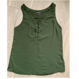 Express Olive Green Top Medium